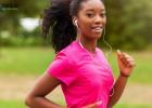 woman on a jog with headphones