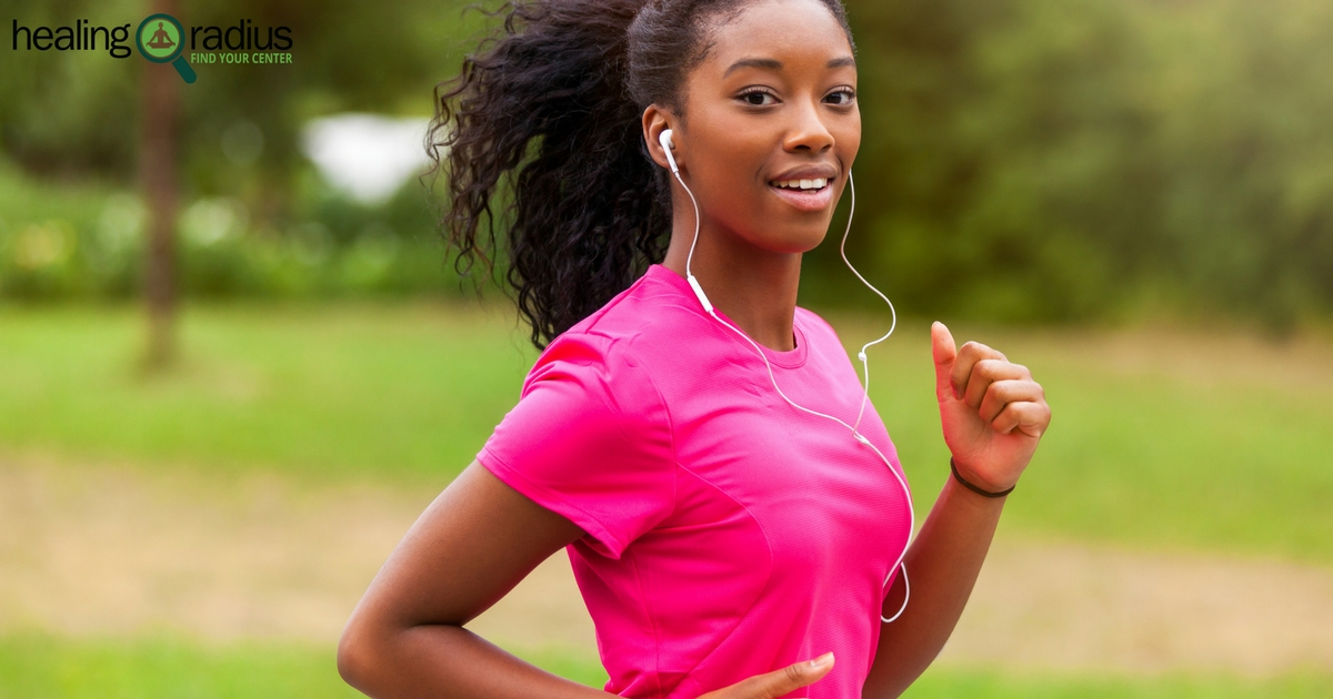 woman on a jog with headphones