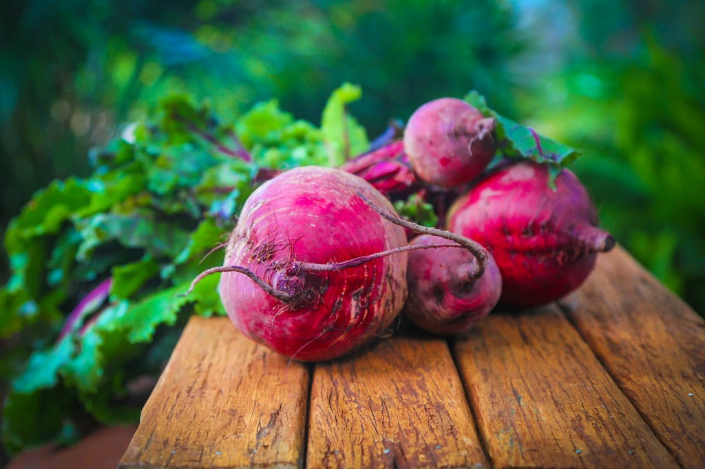 beets on wooden plank