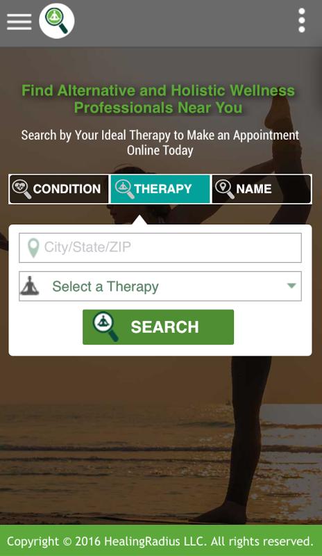 HealingRadius app home screen